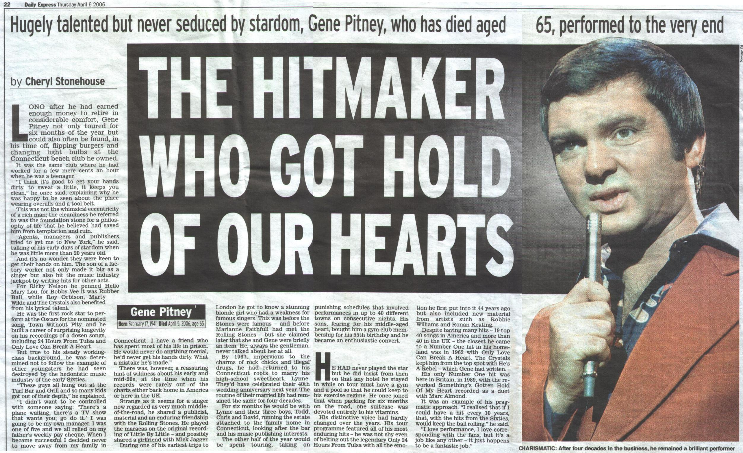 from Ernesto is gene pitney gay
